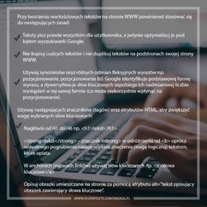 teksty na stronie WWW